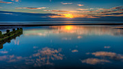 Peaceful Scenery Digital Art Posters - Sunset Reflections Poster by Adrian Evans