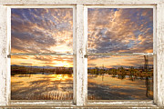 Boardroom Posters - Sunset Reflections Golden Ponds 2 White Farm House Rustic Window Poster by James Bo Insogna