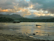 Hanalei Pier Sunset Framed Prints - Sunset Reflections - Hanalei Pier Framed Print by Stephen  Vecchiotti