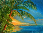Key West Paintings - Sunset Reflections - Key West Sunset and Palm Trees by Shelia Kempf