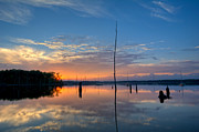 Manasquan Reservoir Posters - Sunset Reflections Poster by Michael Ver Sprill
