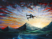 Surfing Art Paintings - Sunset Ride by Teshia Art