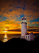 Lighthouse Sunset Posters - Sunset Poster by Robert Bales