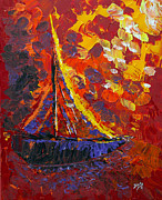 Abstract Expressionist Painting Posters - Sunset Sail Poster by Donna Blackhall