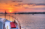 Boat Cruise Prints - Sunset Sail Print by Eddie Yerkish