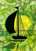 Transportation Tapestries - Textiles Metal Prints - Sunset Sail Metal Print by Jean Baardsen