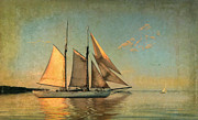 Vineyard Haven Prints - Sunset Sail Print by Michael Petrizzo