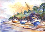 Water Vessels Drawings Posters - Sunset Sail on Brittany Beach  Poster by Carol Wisniewski