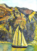 New Jersey Drawings - Sunset Sail on Lake Garda Italy by Carol Wisniewski