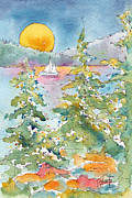 Blue And Gold Paintings - Sunset Sail On Waskesiu Lake by Pat Katz