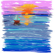 Relax Paintings - Sunset sailing by Angela A Stanton