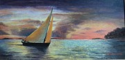 Anne-elizabeth Whiteway Prints - Sunset Sailing by Edgar Turner Cropped Version Print by Anne-Elizabeth Whiteway
