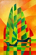 Fishing Enthusiast Art - Sunset Sails and Shadows by Tracey Harrington-Simpson