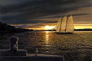 Sailing Ship Paintings - Sunset Sails by Doug Kreuger