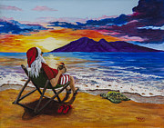 Flip-flops Paintings - Sunset Santa by Darice Machel McGuire
