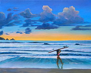 Surfer Girl Paintings - Sunset Session by Camille Youngquist
