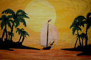 Island Tapestries - Textiles Prints - Sunset Shelter Print by Linda Egland