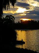 Sunset Silhouette Bethanie Inn Kibuye Lake Kivu Rwanda Africa Print by Robert Ford