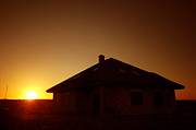 Town Art - Sunset silhouette of house by Michal Bednarek