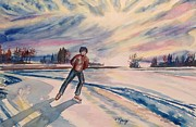 Skating Paintings - Sunset Skate by Christine Kfoury