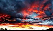 Storm Prints Posters - Sunset Sky Melts into the Sangre de Cristo Mountains Poster by Barbara Chichester