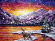 Popular Painting Prints - Sunset Snow Print by Ann Marie Bone