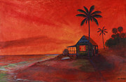 Terra Painting Originals - Sunset Solace by Jerri Phillips