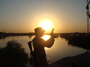 Baghdad Prints - Sunset Soldier Print by Sharla Fossen