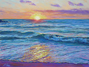 Pink Sunset Pastels Posters - Sunset Sparkles Poster by Michael Camp