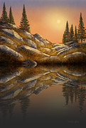 Frank Wilson Prints - Sunset Spruces Reflections Print by Frank Wilson