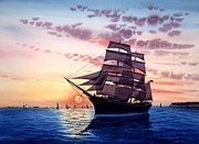 Sunset Sailing Prints - Sunset Star Of India Print by John YATO