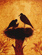 Stork Paintings - Sunset Stork Family Silhouettes by Georgeta  Blanaru