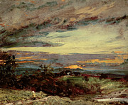 Peaceful Scenery Paintings - Sunset study of Hampstead by John Constable