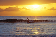 Surf Silhouette Posters - Sunset Surf Maui Poster by David Olsen