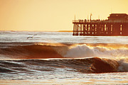 Santa Cruz Pier Prints - Sunset Surf Santa Cruz Print by Paul Topp