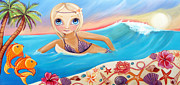 Surrealism Paintings - Sunset Surfer by Jaz Higgins