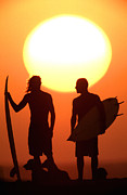 Surf Lifestyle Metal Prints - Sunset Surfers Metal Print by Sean Davey