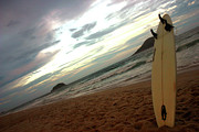 Frederico Borges Photo Prints - Sunset surfing  Print by Frederico Borges
