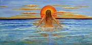 Sun Rays Painting Originals - Sunset Swim by Jane  Ricker
