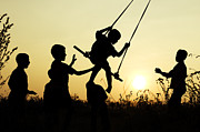 Child Swinging Art - Sunset Swing by Tim Gainey