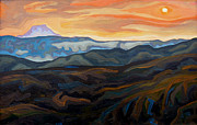 Badlands Painting Originals - Sunset through Califorina forest fire smoke by Dale Beckman