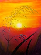 Sun Rays Painting Posters - Sunset through the grass Poster by Zulfiya Stromberg