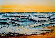 Skies Mixed Media Prints - Sunset Tide Print by Andrew Read