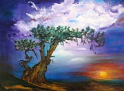 Abstract Paintings - Sunset Tree by Doris Cohen