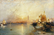 Docked Posters - Sunset Venice Poster by Thomas Moran