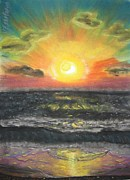 Sun Rays Pastels Metal Prints - Sunset Metal Print by Victor Berelovich