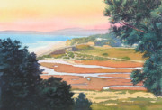 Pines Painting Framed Prints - Sunset View from Torrey Pines Framed Print by Mary Helmreich