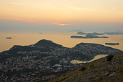 Panoramic Marina Framed Prints - Sunset view of Dubrovnik and Dalmatian Coast Framed Print by Kiril Stanchev