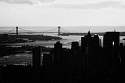 Manhaten Prints - sunset view of manhattan financial district new york bay and Verrazano Narrows Bridge Print by Joe Fox
