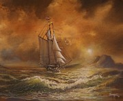 Schooner Prints - Sunset Voyage of the James Standish Print by Tom Shropshire